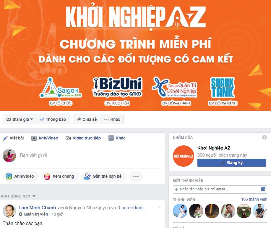 Group Facebook dành cho các thành viên Khởi nghiệp AZ đã chính thức được thành lập với tên gọi là Khởi Nghiệp AZ